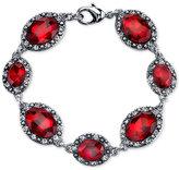 2028 Silver-Tone Large Crimson Stone and Pavé Link Bracelet