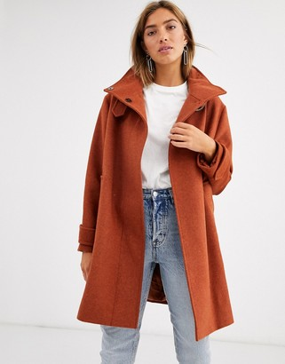 Asos Design DESIGN twill buckle neck coat in rust-Green