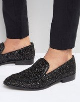 Dune Glitter Loafers In Black