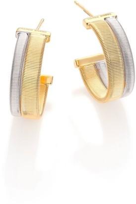 "Marco Bicego Goa 18K Yellow Gold & 18K White Gold Hoop Earrings/0.5"""
