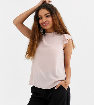 New Look Petite frill edge blouse in pink