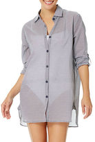 Anne Cole Boyfriend Striped Button-Down Cover-Up