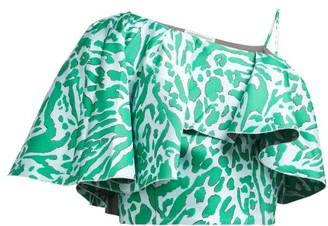 Vika Gazinskaya Cape-sleeve Leopard-jacquard Top - Womens - Green Multi