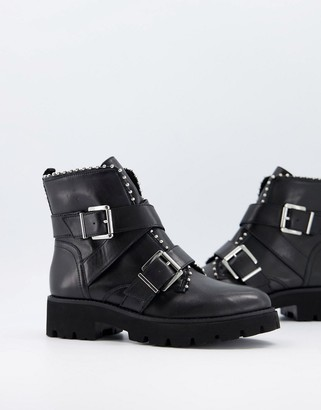 Steve Madden Hoofy double buckle leather flat ankle boots in black