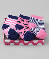 Dimples Pink & Navy Whale Three-Pair Socks Set
