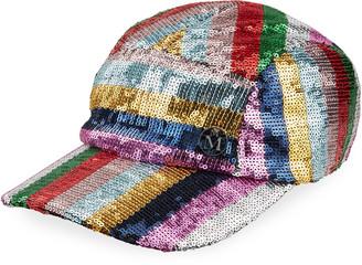Maison Michel Nell Stripe Sequined Baseball Cap