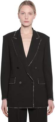 MSGM Embellished Double Breasted Crepe Blazer