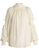 Rachel Comey Smocked-detail wool-gauze top