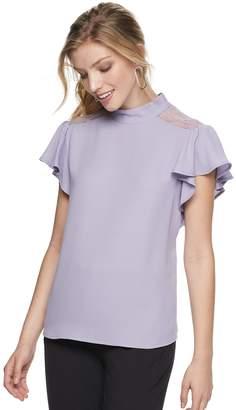 Apt. 9 Women's Lace Flutter-Sleeve Top