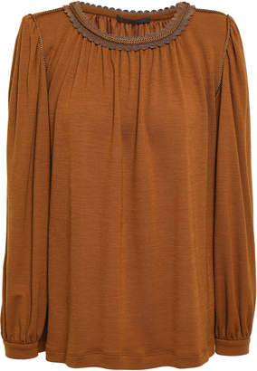 Alberta Ferretti Braid-trimmed Stretch-knit Blouse