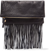 Clare Vivier Maison fold-over fringed textured-leather clutch