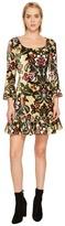 Jeremy Scott Brocade Printed Velvet Mini Dress Women's Dress