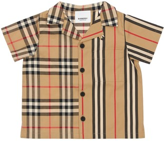 Burberry Check & Stripes Cotton Poplin Shirt