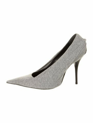 Balenciaga Knife Embroidered Accent Pumps Grey
