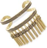 BCBGeneration Gold-Tone Decorative Openwork Tassel Cuff Bracelet