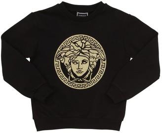 Versace Glittered Logo Cotton Sweatshirt