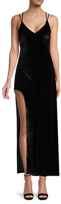 For Love & Lemons Side-Slit Velvet Maxi Dress
