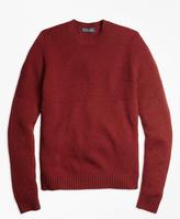 Brooks Brothers Textured Chest Stripe Merino Wool Crewneck Sweater
