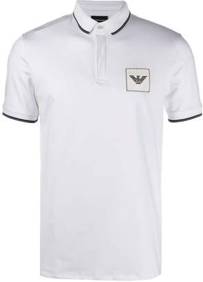 Emporio Armani contrast-tipped logo-embroidered polo shirt