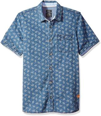 Buffalo David Bitton Men's Sirtur Short Sleeve Chambray Printed Button Down Shirt