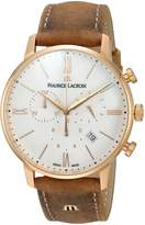 Maurice Lacroix Men's 'Eliros' Swiss Quartz Gold-Tone and Leather Casual Watch, Color:Brown (Model: EL1098-PVP01-113-1)