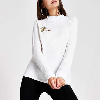 River Island White high neck foil print T-shirt