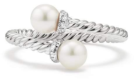 David Yurman Solari Bypass Ring with Cultured Akoya Pearls & Diamonds in 18K White Gold