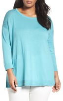 Sejour Plus Size Women's Mesh Yoke Cotton Blend Sweater