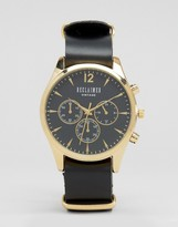 Reclaimed Vintage Chronograph Leather Watch In Black