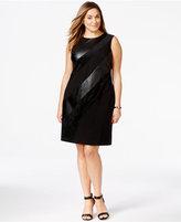 Calvin Klein Plus Size Mixed Media Sleeveless Sheath Dress