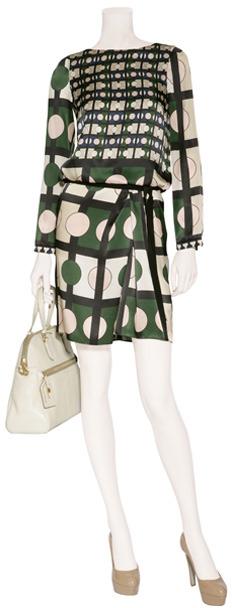 Piazza Sempione Blush/Green Draped Silk Dress