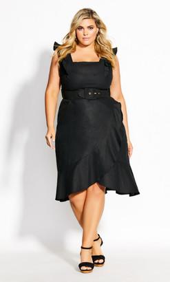City Chic Frill Thrill Dress - black