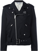 Comme des Garcons ruffled sleeves biker jacket - women - Wool - S