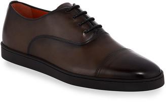 Santoni Durbin Leather Cap-Toe Dress Shoes