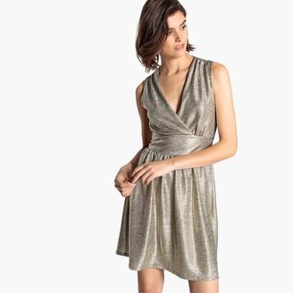 La Redoute Collections Metallic Wrapover Mini Dress