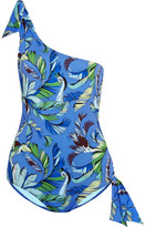 Emilio Pucci One-shoulder Printed Swimsuit - Blue