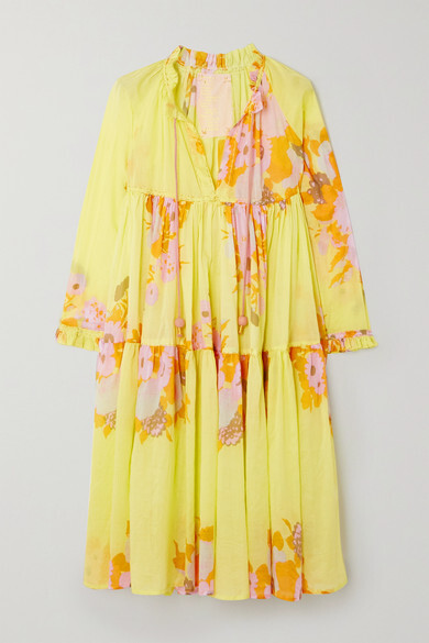 Thumbnail for your product : Yvonne S Tiered Printed Cotton-voile Midi Dress - Yellow