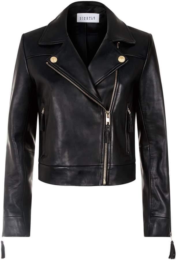 Claudie Pierlot Tassel-Trim Leather Jacket