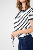 7 For All Mankind Short Sleeve Tie Front Top In Navy White Stripe