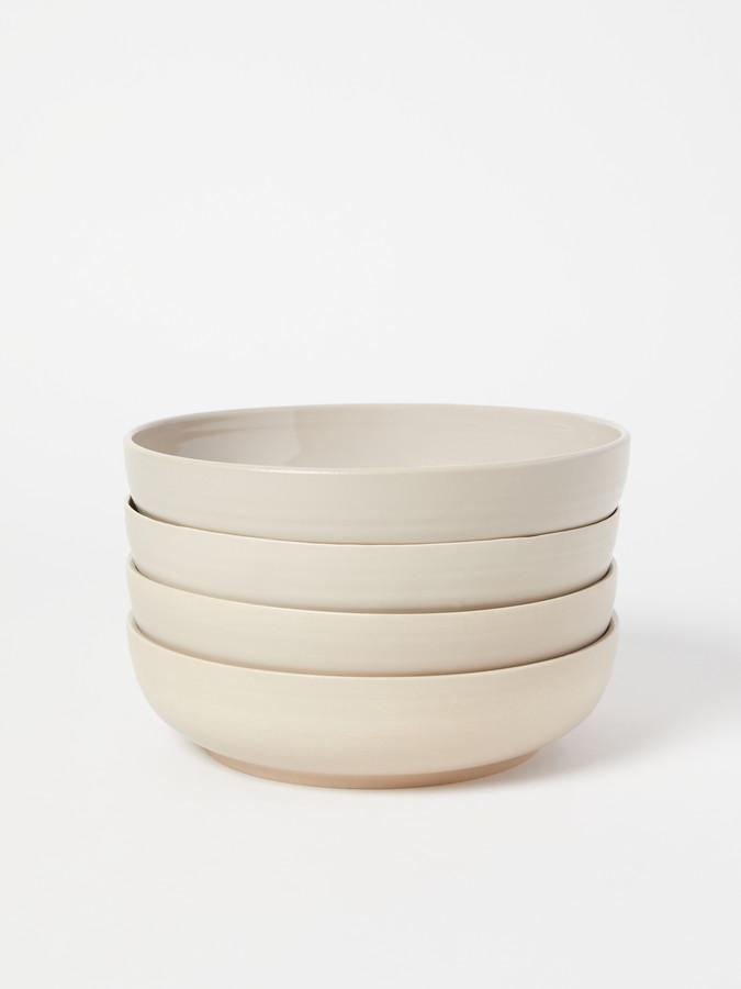 Shaker Stoneware Low Bowl, Set of 4