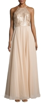 Carmen Marc Valvo Embellished and Gathered Gown
