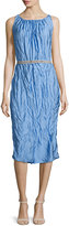Nina Ricci Sleeveless Crinkled Sheath Dress