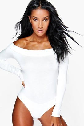 boohoo Basic Off The Shoulder Long Sleeve one piece