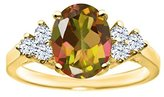 Gem Stone King 2.54 Ct Oval Mango Mystic Topaz White Topaz 14K Yellow Gold Ring