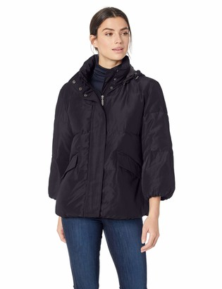 Lark & Ro Amazon Brand Women's 3/4 Sleeve Short Puffer Coat With Front Zipper