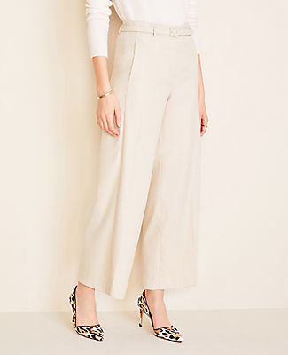 Ann Taylor The Petite Belted Wide Leg Marina Pant in Flannel