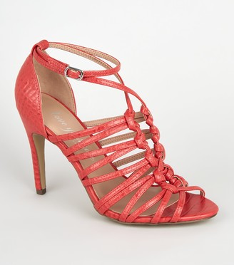 New Look Faux Croc Knot Strap Heels
