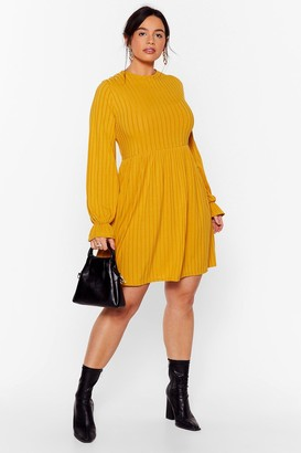 Nasty Gal Womens Whatever Rib Takes Plus Mini Dress - Yellow - 24, Yellow
