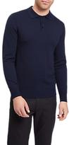 Jaeger Knit Long Sleeve Polo Shirt, Navy