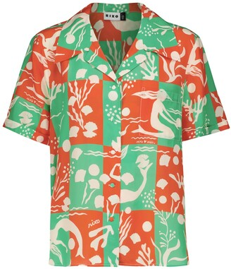Rixo Rickie printed silk shirt